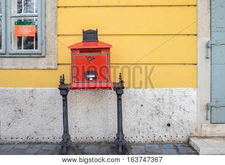 BUDAPEST HUNGARY - DECEMBER 10 2016: Traditional old-fashion Red Post Box in Budapest Hungary