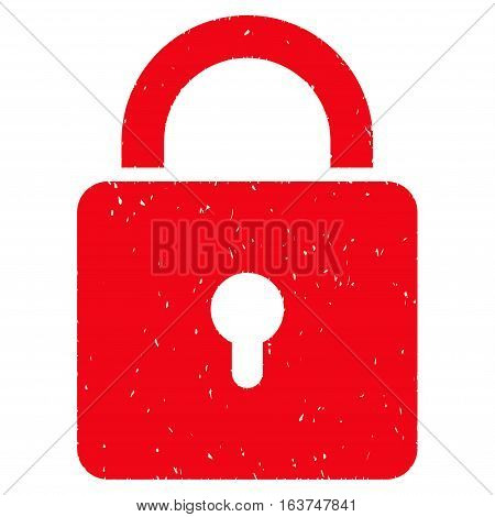Lock grainy textured icon for overlay watermark stamps. Flat symbol with dust texture. Dotted vector red ink rubber seal stamp with grunge design on a white background.