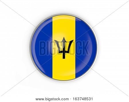 Flag Of Barbados, Round Icon With Metal Frame