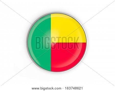 Flag Of Benin, Round Icon With Metal Frame