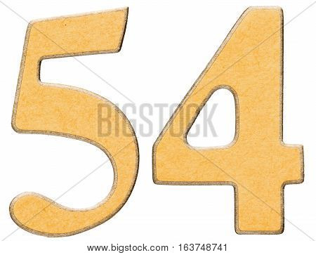 54, Fifty Four, Numeral Of Wood Combined With Yellow Insert, Isolated On White Background