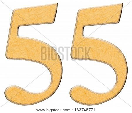 55, Fifty Five, Numeral Of Wood Combined With Yellow Insert, Isolated On White Background