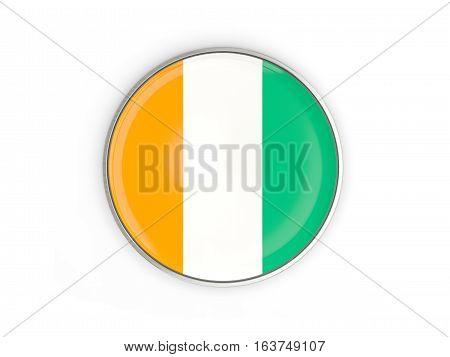 Flag Of Cote D Ivoire, Round Icon With Metal Frame