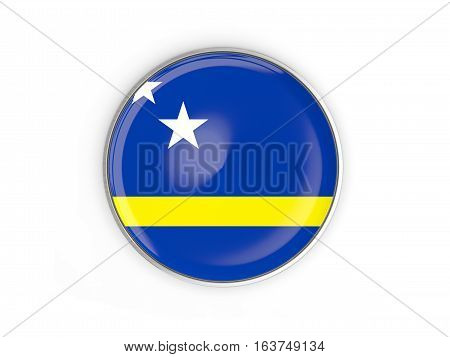 Flag Of Curacao, Round Icon With Metal Frame