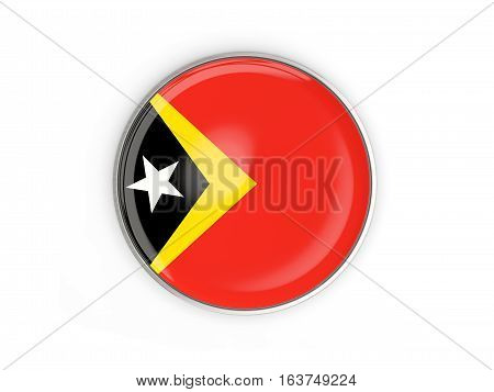 Flag Of East Timor, Round Icon With Metal Frame