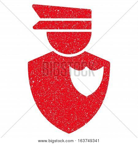 Policeman grainy textured icon for overlay watermark stamps. Flat symbol with dust texture. Dotted vector red ink rubber seal stamp with grunge design on a white background.