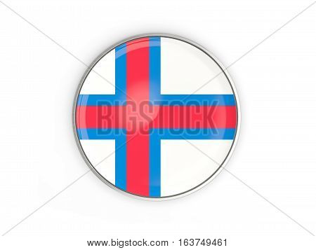 Flag Of Faroe Islands, Round Icon With Metal Frame