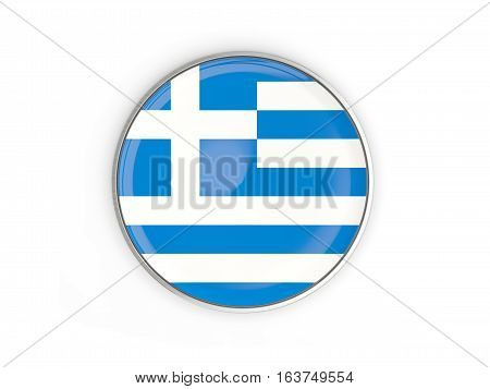Flag Of Greece, Round Icon With Metal Frame