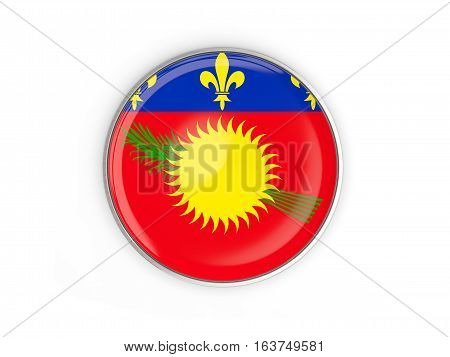 Flag Of Guadeloupe, Round Icon With Metal Frame