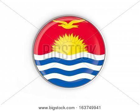 Flag Of Kiribati, Round Icon With Metal Frame