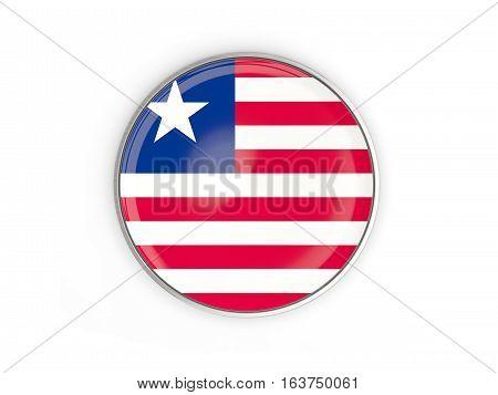 Flag Of Liberia, Round Icon With Metal Frame