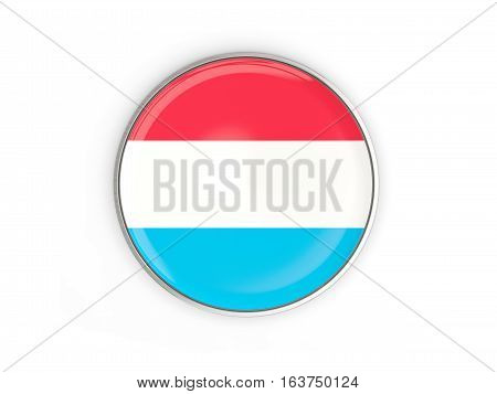Flag Of Luxembourg, Round Icon With Metal Frame
