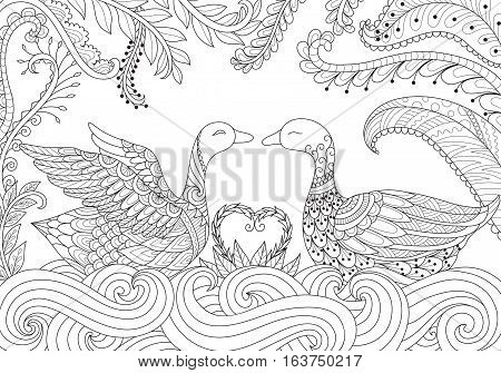 Two swans playing happily together on river for Valentine's card and adult coloring book pages. Stock vector