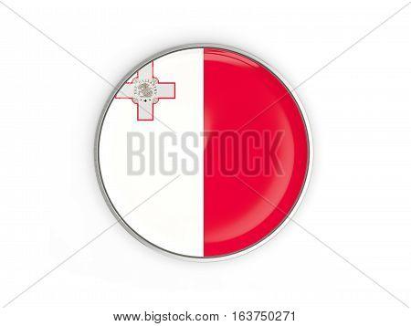 Flag Of Malta, Round Icon With Metal Frame
