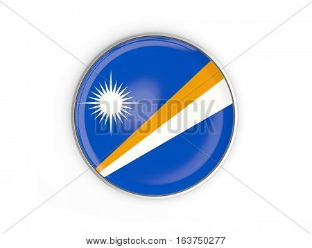 Flag Of Marshall Islands, Round Icon With Metal Frame