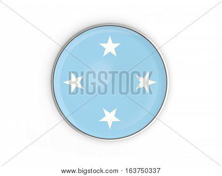 Flag Of Micronesia, Round Icon With Metal Frame