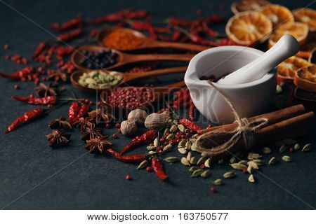 Group Of Mix Spices With Paprika