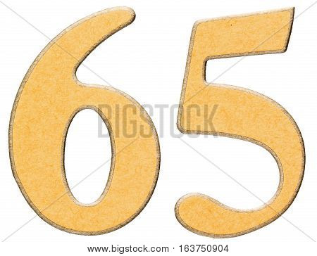 65, Sixty Five, Numeral Of Wood Combined With Yellow Insert, Isolated On White Background