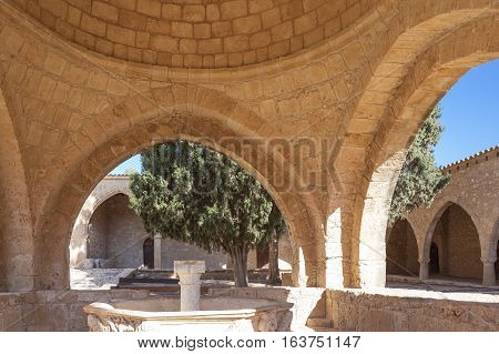 Aya Napa, Greece - November 26, 2016: Cyprus island,the fountain in the courtyard of the Monastery (14th century)