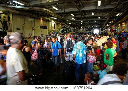 Suva, Fiji - December 2: Unidentified People Get Off The Ferry On December 2, 2013 In Suva On Viti L