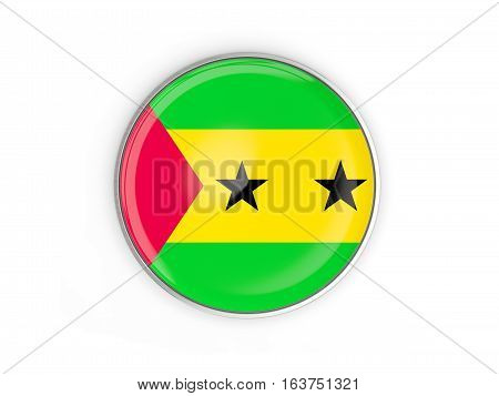 Flag Of Sao Tome And Principe, Round Icon With Metal Frame