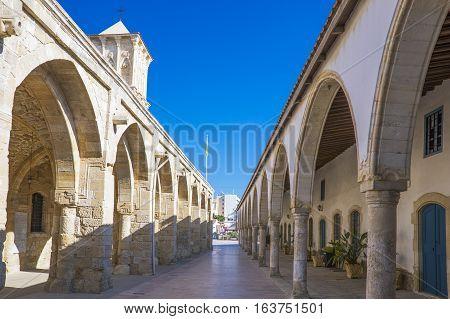 Larnaka,  Creece - November 26, 2016: Cyprus island,  the porch of the St. Lazarus church