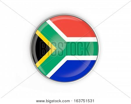 Flag Of South Africa, Round Icon With Metal Frame