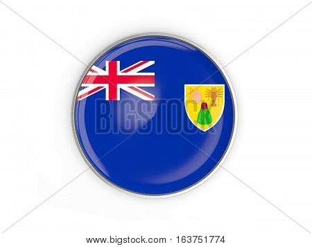 Flag Of Turks And Caicos Islands, Round Icon With Metal Frame