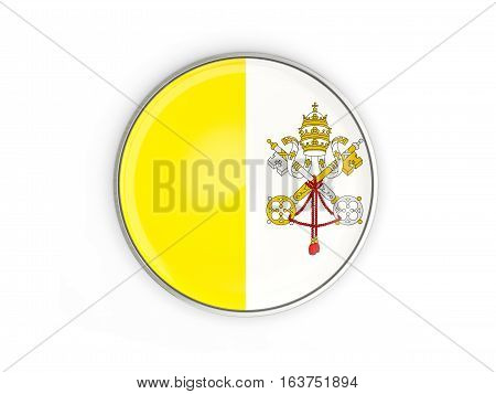 Flag Of Vatican City, Round Icon With Metal Frame