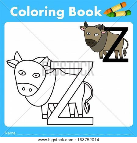 Illustrator of color book with zebu animal