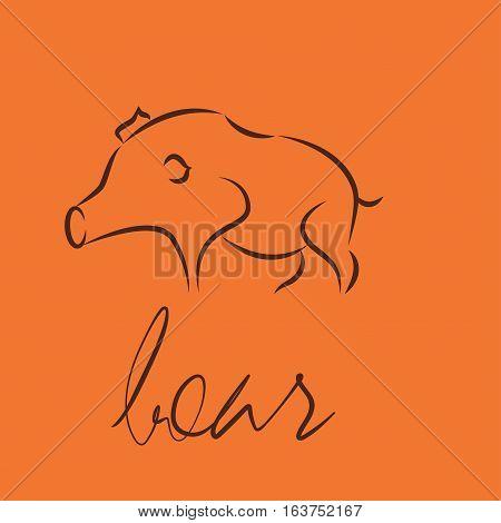 boar symbol icon. Negative space idea logotype. eps10