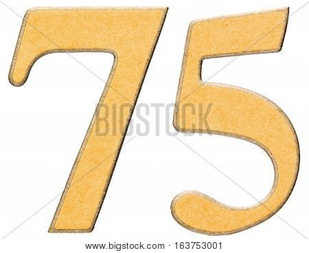 75, Seventy Five, Numeral Of Wood Combined With Yellow Insert, Isolated On White Background