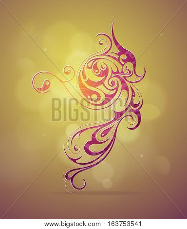 Ornamental swirls as design element with flares on backdrop