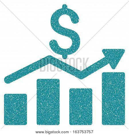 Sales Chart grainy textured icon for overlay watermark stamps. Flat symbol with scratched texture. Dotted vector soft blue ink rubber seal stamp with grunge design on a white background.