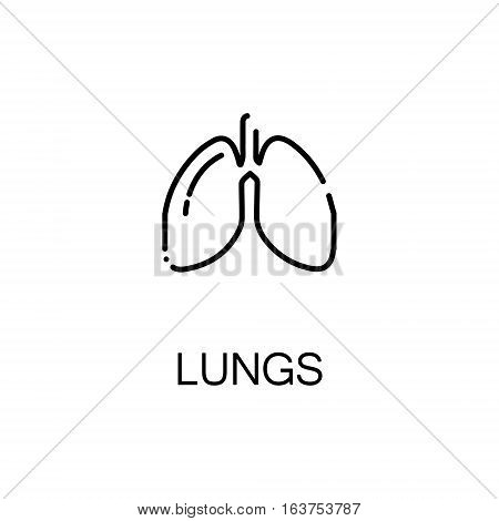 Lungs flat icon. Single high quality outline symbol of human body for web design or mobile app. Thin line signs of lungs for design logo, visit card, etc. Outline pictogram of lungs