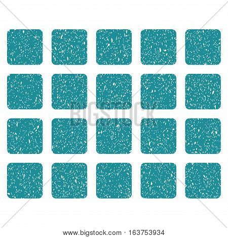 Square Grid grainy textured icon for overlay watermark stamps. Flat symbol with unclean texture. Dotted vector soft blue ink rubber seal stamp with grunge design on a white background.