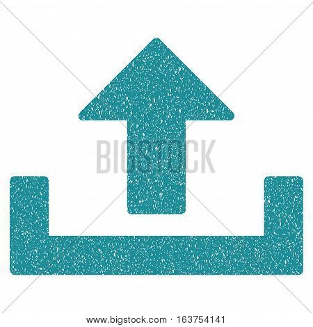 Upload grainy textured icon for overlay watermark stamps. Flat symbol with unclean texture. Dotted vector soft blue ink rubber seal stamp with grunge design on a white background.