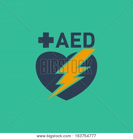 AED Automated External Defibrillator vector logo design poster