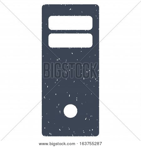 Computer Mainframe grainy textured icon for overlay watermark stamps. Flat symbol with dust texture. Dotted vector smooth blue ink rubber seal stamp with grunge design on a white background.