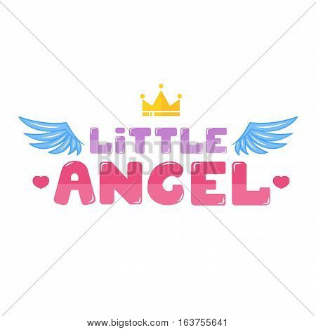 Little angel lettering background stock vector illustration