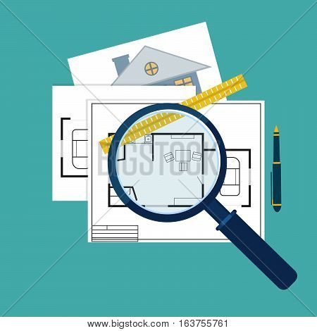 home inspector icon or logo vector illustration