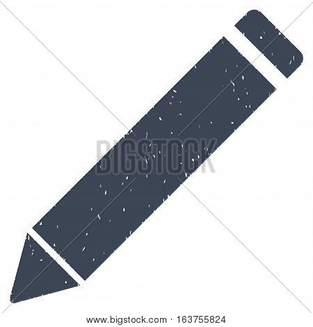 Edit Pencil grainy textured icon for overlay watermark stamps. Flat symbol with dust texture. Dotted vector smooth blue ink rubber seal stamp with grunge design on a white background.