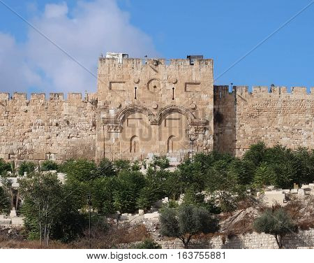 The Golden Gate, as it is called in Christian literature, is the only eastern gate of the Temple Mount and one of only two that used to offer access into the city from that side.