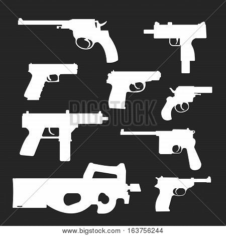 Weapons vector handguns collection. Pistols, submachine guns icons. Gun illustration isolated on black background