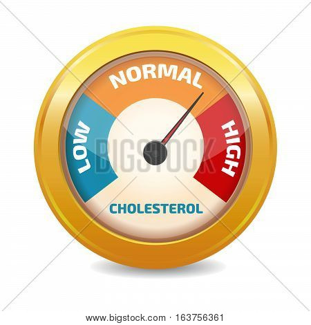 Cholesterol Meter icon gold vector illustration stock