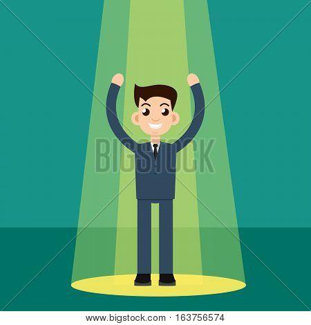 Businessman character in spotlight. Vector stock illustration.