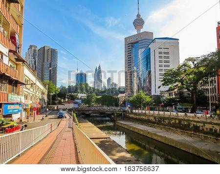 KUALA LUMPUR, MALAYSIA - JANUARY 13, 2014: Cityscape of the Kuala Lumpur, Malaysia. Old and modern buildings