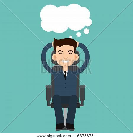 Businessman dreaming on chair  vector illustration stock
