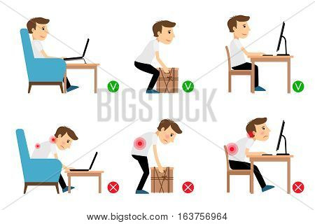 Man sitting, working and lifting heavy things correct and incorrect postures. Vector illustration