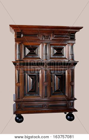 Dutch Cabinets On Stand. Made From Ebony And Oakwood.